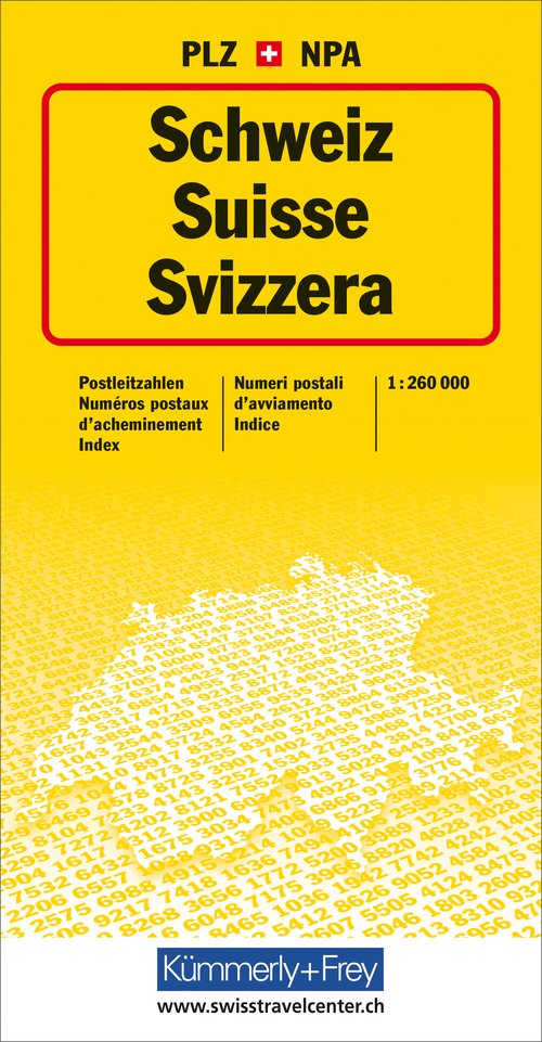 Switzerland, post code map 1:260 000