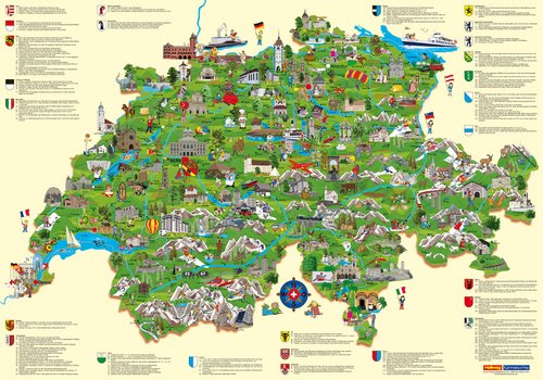 Switzerland Child's Map / Poster (german edition)
