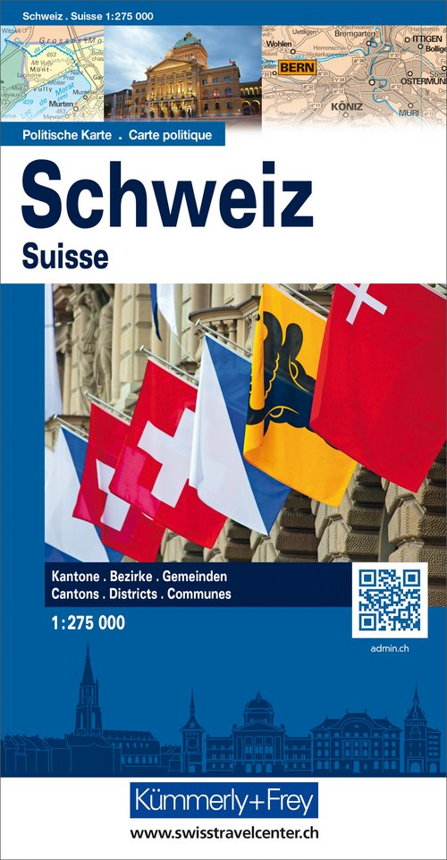 Switzerland political, overwiew map 1:275 000