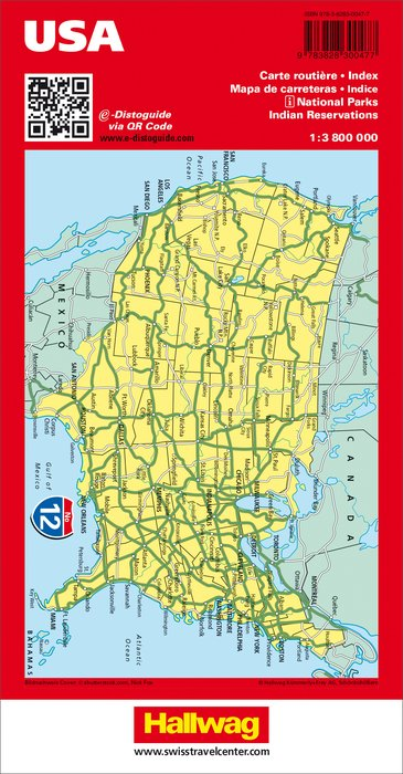 USA Road map with e-Distoguide - Swisstravelcenter - Hallwag ...
